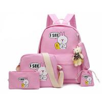 可爱兔子印花男女双肩包 初中生高中生韩版印花帆布书包双肩包买ajm 粉红色