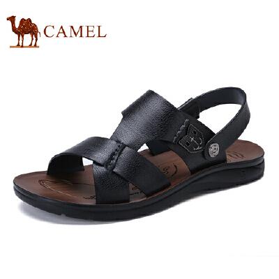 骆驼牌 男鞋 新品日常时尚休闲沙滩鞋透气牛皮露趾凉鞋
