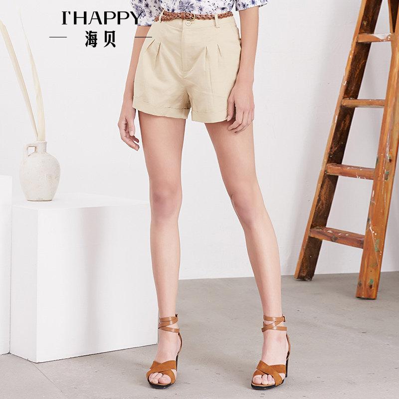 海贝夏季新款女装休闲裤 简约纯色编织腰带插袋百搭A字短裤