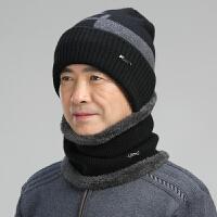 冬天中老年男毛线帽保暖父亲爷爷针织帽老人老头帽子围脖套帽