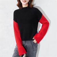 【超值一口价可叠每满100-50】毛衣女士针织百搭新款羊毛打底衫镶拼撞色时尚针织衫女