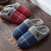 秋冬季皮防水室内家居家用保暖防滑厚底男女情侣半包跟毛毛棉拖鞋
