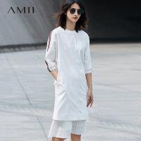 Amii[极简主义]2017秋新圆领宽松织带装饰连肩中袖连衣裙11740600
