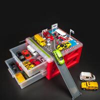 门扉 玩具车收纳盒 创意儿童抽屉盒式两层迷你停车场造型玩具盒男孩汽车模型展示盒家居日用整理箱
