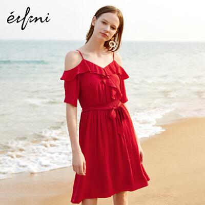 2件4折 伊芙丽2018夏季新款韩版裙子红色V领中长款性感吊带高腰连衣裙女