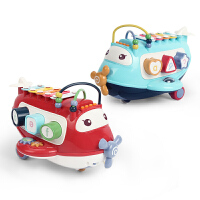 婴儿早教飞机手敲琴几何配对积木音乐早教国学绕珠拖拉玩具
