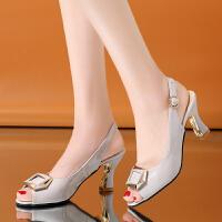 (新品)鱼嘴凉鞋女新款搭扣高跟中跟性感超显脚白夏季凉鞋潮