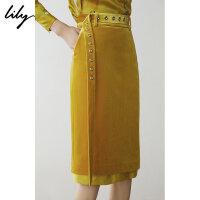 Lily春新款女装铆钉拼接包臀修身中长裙半身裙119110C6201