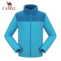 CAMEL骆驼童装秋冬季新款女童开胸抓绒衣儿童户外徒步保暖上衣