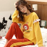 南极人家居服女睡衣棉质清新个性宽松休闲柔软舒适时尚长袖套装KH6165