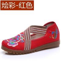 老北京布鞋女绣花鞋平底软底中老年妈妈鞋春季上班工作鞋大码女鞋 藕色 彩绘-红色