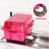 厨房碗柜塑料碗架沥水架大号带盖装碗筷收纳盒放碗盘餐具置物架