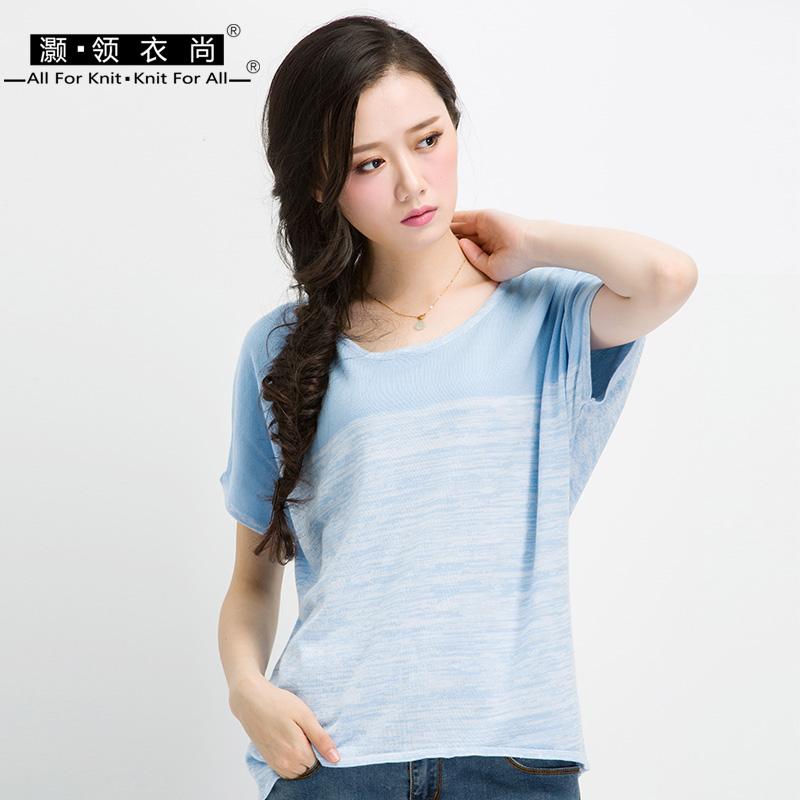 棉质中长款短袖t恤女夏加肥加大码拼色条纹宽松蝙蝠针织衫薄