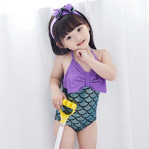 Yinbeler泳衣+发带婴儿女宝宝美人鱼泳衣女童