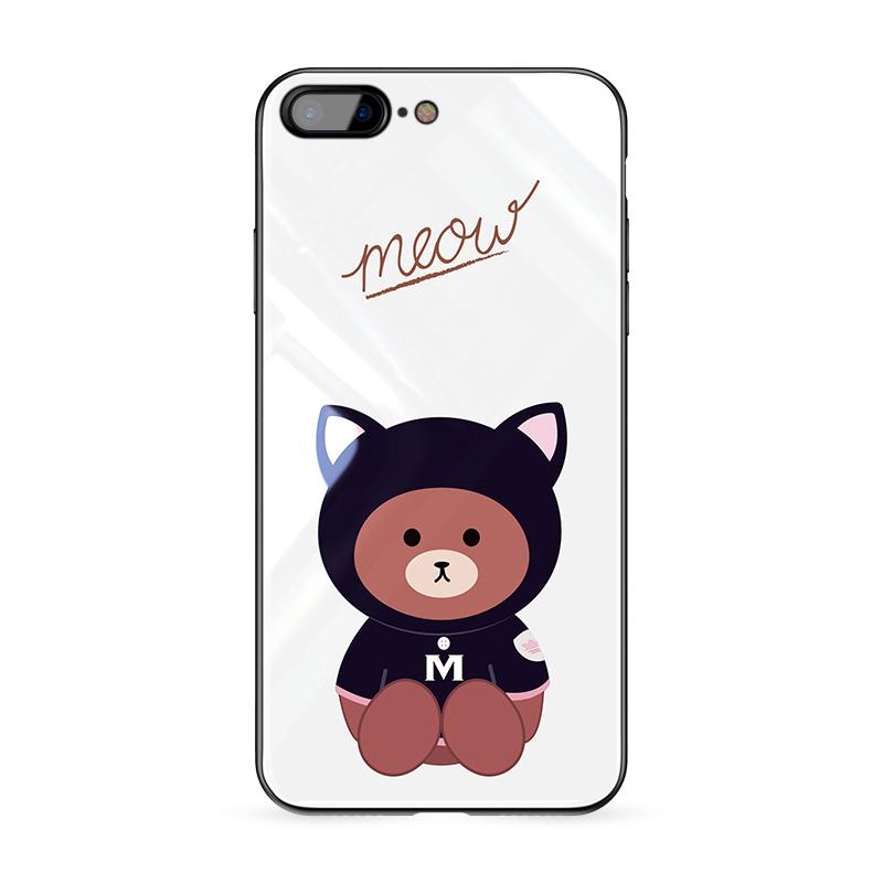 iPhone8手机壳可爱个性创意苹果7保护壳卡通防摔8plus玻璃壳全包边韩国7plus