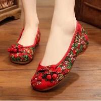 老北京布鞋女民族风绣花鞋广场舞汉服鞋子女单演出鞋内增高古风鞋