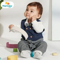 【1件2折】马卡乐童装22春新款宝宝连体服两件套套装小马甲男童连体服