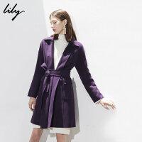 Lily春秋新款女装深紫双面呢修身系带绵羊毛大衣118400F1603