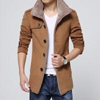 新款秋冬男装立领羊羔毛呢料夹克外套休闲立领风衣大衣男