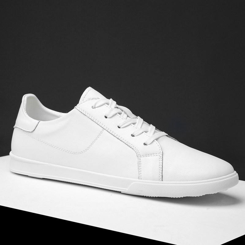 皮鞋男士小白鞋夏季韩版百搭男鞋牛皮休闲鞋运动鞋小码平底潮鞋白色透气板鞋