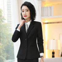秋款职业装女装套装黑色西装外套女短款长袖女士西服工作服三件套 黑色 8803单外套 S 穿80斤左右