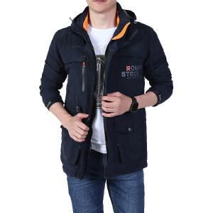 战地吉普AFS JEEP男装立领皮夹克时尚单层皮衣夹克休闲瘦身皮衣简约薄款男士皮衣夹克