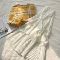 冬新款韩版小清新加厚格子毛衣+松紧腰百褶蛋糕半身裙子两件套装