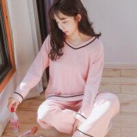 睡衣女春秋款韩版纯棉长袖甜美可爱粉色宽松可外穿秋冬家居服套装 AM6607
