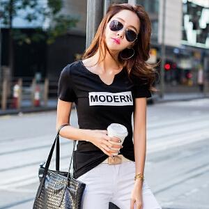夏季短袖T恤女韩版修身半袖T��上衣学生百搭打底衫白色体恤棉小衫ZY3836