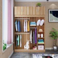 御目 大衣柜 简约板式趟门移门推拉门双人成人整体家用卧室衣柜两门大衣橱收纳柜子 创意家具