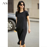 【AMII 超级品牌日】Amii[极简主义]2017夏装百搭纯色休闲短袖套头T恤连衣裙11742205