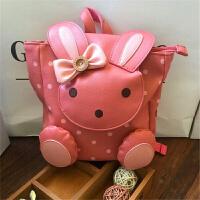 韩国宝宝小书包幼儿园牵引绳背包儿童可爱小兔1-3岁男女孩双肩包 粉红色 深粉兔子