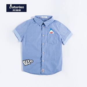 [满200减100]芙瑞诺童装男童夏装英伦时尚纯色翻领印花纯棉短袖衬衫