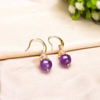 天然紫水晶配金发晶耳坠