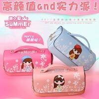 韩版可爱化妆包学生手提笔袋女孩萌小夏大容量文具包铅笔盒赠送密码锁