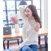 2017秋冬装女针织衫新款韩版长袖针织打底衫蕾丝拼接露肩毛衣