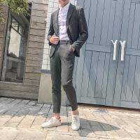 千鸟格子西服套装男韩版修身英伦风休闲结婚礼服潮流帅气小西装