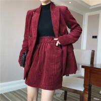 简约韩风 气质复古灯芯绒西装外套女+阔腿裤+半身裙三件套