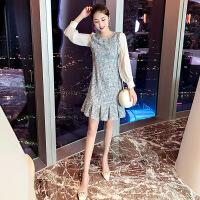 毛呢连衣裙秋冬季早秋装2018新款少女山本风裙法式气质裙子两件套 蓝色 M