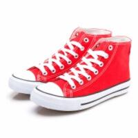 春夏款白色球鞋女士韩版厚底帆布鞋低帮运动休闲系带内增高单鞋潮 高帮大红 35(女)
