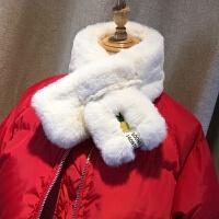 菠萝围巾女冬季日系小清新獭兔毛绒少女围脖韩版百搭软妹学生冬天