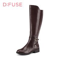 D:Fuse/迪芙斯长靴秋冬皮带扣圆头中跟粗跟女鞋DF54116031