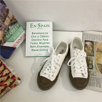 南在南方 复古低帮焦糖饼干鞋女ins街拍帆布鞋学生港风板鞋夏季百搭鞋 白巧克力
