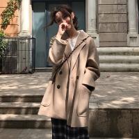 双排扣chic呢子大衣秋冬韩版西装领宽松中长款小个子毛呢外套女潮