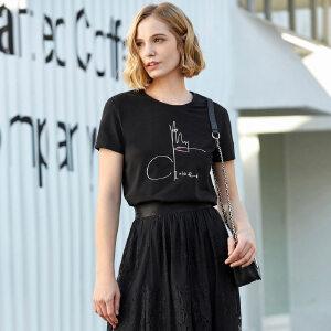 【到手价:57.9元】Amii极简chic潮时尚洋气T恤2019春季新百搭圆领撞色印花短袖上衣