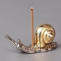 居室家用创意迷你小摆件铜檀香炉沉香 蜗牛线香插香托佛教用品