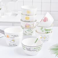餐具套装 创意卡通小清新陶瓷餐具套装方形碗4.5英寸米饭碗家用小碗汤碗沙拉碗早餐碗