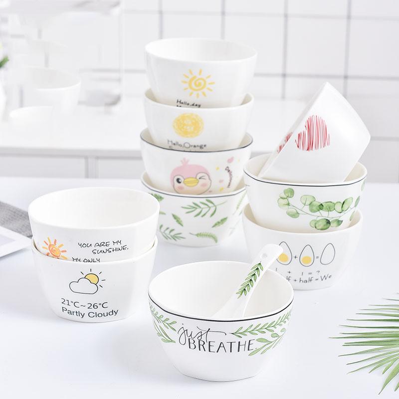 餐具套装 创意卡通小清新陶瓷餐具套装方形碗4.5英寸米饭碗家用小碗汤碗沙拉碗早餐碗 创意卡通清新陶瓷餐具套装