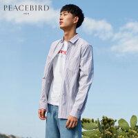 太平鸟男装 新款灰白条纹长袖衬衣潮牌撞色缝标刺绣ins超火的衬衫