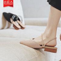【活动中】小红人两穿凉鞋女ins潮粗跟包头半拖鞋女一字带凉鞋2019新款夏季 飞织布